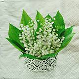 - S1140 - Servítky - jar, jarná, konvalinka, váza, kvetináč, krajka - 9141724_