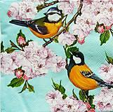 Papier - S1141 - Servítky - jar, vtáčiky, kvetinky, puky, sýkorka - 9141893_