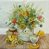 Papier - S1142 - Servítky - med, medová, honey, kytica, lúčne kvety, mak - 9141996_