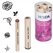Iný materiál - Sada pečiatok M&M ruže a listy - 9143242_