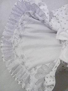 Textil - Detská perinka - strieborné hviezdičky na bielom s ručnou výšivkou - 9143610_