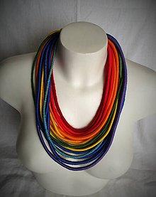 Náhrdelníky - Dúhový náhrdelník z priadzí - 9139605_