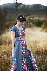 Ozdoby do vlasov - Jednoradová mosadzná čelenka so zlatými kvetmi a listami - Slavianka - 9140041_