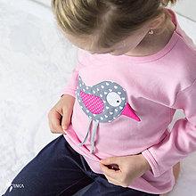 Detské oblečenie - tričko (dlhý rukáv) VTÁČIK ŠTEBOTÁČIK - 9143545_