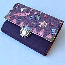 Peňaženky - Zahrada fialová - peněženka - 9143328_