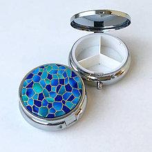 Krabičky - Zlatotisk (kamínky modré) - lékovka - 9143807_