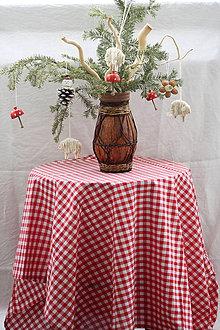 Úžitkový textil - Obrus. Červený kockovaný kanafasový - stará klasika. - 9140823_
