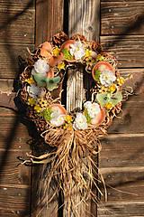 Dekorácie - Jarný šiškový veniec na dvere - 9144211_