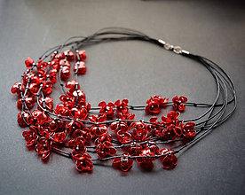 Náhrdelníky - Recy náhrdelník červené kvietky - 9142453_