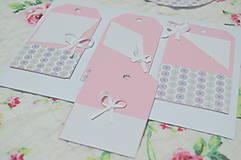Papiernictvo - Sviatočné menovky- ružové - 9141928_