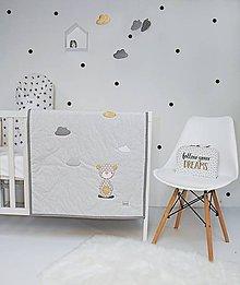 Textil - Bielo-šedo-horčicová deka s mackom - 9140297_