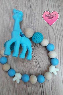 Hračky - Hryzátko so žirafkou - modré - 9140339_