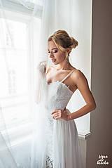 Šaty - Svadobné šaty z krajky na ramienka so šifónovou vlečkou rôzne vzory - 9141520_