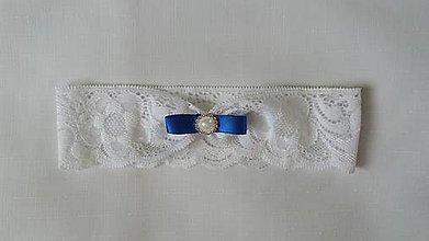 Bielizeň/Plavky - Biela a kráľovsky modrá -  podväzok - 9141902_