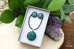 Sady šperkov - Tmavozelená sada sklenených šperkov - 9143075_