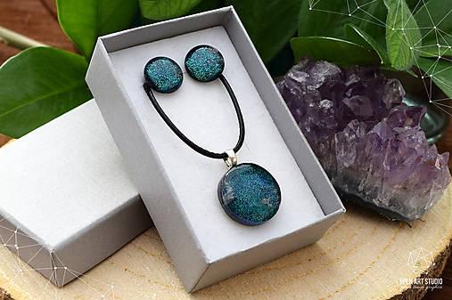 Tmavozelená sada sklenených šperkov