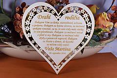 Darčeky pre svadobčanov - Poďakovanie Rodičom srdce vyrezávané 3 - 9139730_