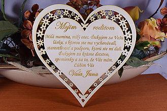 Darčeky pre svadobčanov - Poďakovanie Rodičom srdce vyrezávané 2 - 9139436_