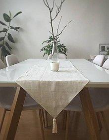 Úžitkový textil - Štóla z ručne tkaného plátna 140x40cm - 9141353_
