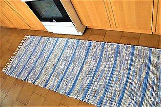 Úžitkový textil - Tkaný koberec modro-hnedo-biely - 9139878_