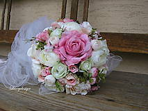 Kytice pre nevestu - svadobná kytica..neha v ružovom - 9141537_