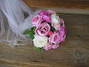 Kytice pre nevestu - svadobná kytica...pink - 9140197_