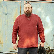 Oblečenie - Ľanová košeľa Mojmír bordová DOPREDAJ