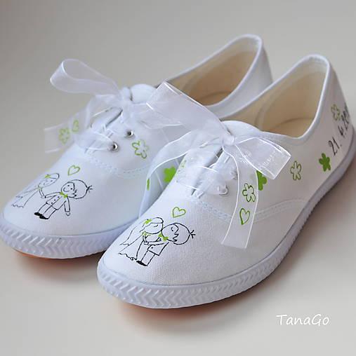 33a7e09121 Svadobné tenisky so zelenou   TanaGo - SAShE.sk - Handmade Obuv