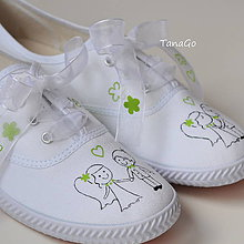 Obuv - Svadobné tenisky so zelenou - 9147296_