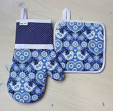 Úžitkový textil - set rukavica+chňapka Folki modrá - 9148577_