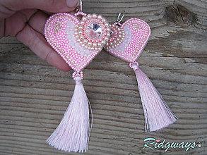 Náušnice - Heart collection...vyšívané (Pink/Rose) - 9148740_