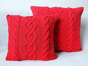 Úžitkový textil - Červený vankúšik ♡ - 9146786_