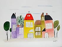 Obrazy - Mesto malé  ilustrácia  / originál maľba - 9146594_