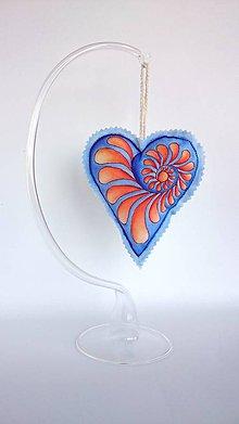 Dekorácie - závesné srdiečka - dvojfarebné (modro - oranžové) - 9149046_