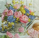 Papier - S1144 - Servítky - kvety, kytica, vidiek, krhla, romantika, vintage - 9144793_