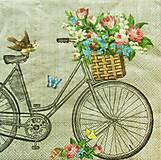 Papier - S1150 - Servítky - bike, bicykel, retro, kvet, kytica, košík, motýľ - 9146783_
