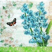 Papier - S1146 - Servítky - jar, spring, kvietok, motýľ, hyacint, záhrada - 9144880_
