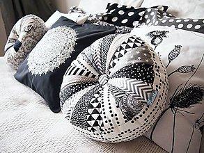 Úžitkový textil - Pampúšik - minimal - čierno-biely - 9147643_