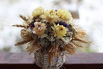 Dekorácie - Aranžmán zo sušených kvietkov - 9145814_