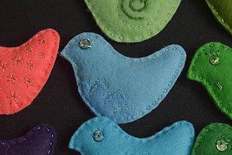 Odznaky/Brošne - Brošne vtáčikové (Modrá) - 9148272_