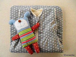 Textil - RUNO SHOP Spací vak pre deti a bábätká ZIMNÝ 100% MERINO na mieru Hviezdička sivá - 9145389_