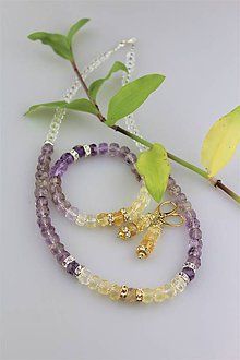 Sady šperkov - Ametrín náušnice náramok a náhrdelník súprava luxusná - 9146151_