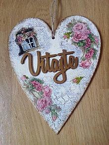 Tabuľky - Drevené srdce Vitajte - Pod okienkom - 9145516_