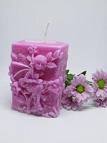 Svietidlá a sviečky - Sviečka Víla (ružová) - 9145565_