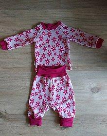Detské súpravy - Merino termoprádlo set pre bábätká Bezovec kvety - 9144926_