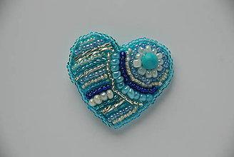 Odznaky/Brošne - Brošňa modré srdce - 9146793_