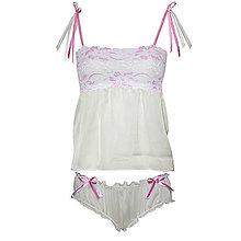 Pyžamy a župany - Vintage Angel - košieľka a nohavičky - 9146850_