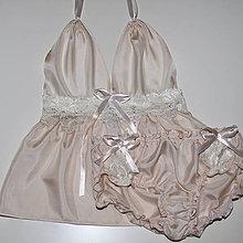 Pyžamy a župany - Vintage Jasmine - košieľka a nohavičky - 9147060_