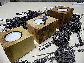 Svietidlá a sviečky - Sada drevených svietnikov - 9148810_