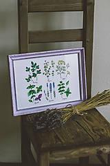 Obrázky - Bylinky (Bylinky vo fialovom ráme (1ks)) - 9145301_